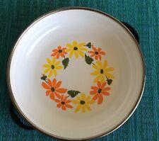 Vintage Ekco Country Garden Porcelain Clad Cookware Bowl Pan Casserole w Handles