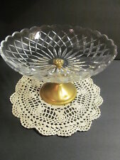 Val St. Lambert Large Compote Pedestal Bowl Gilt Gold Plated Cut Crystal