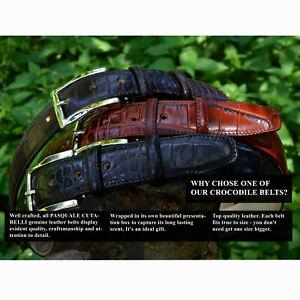 Pasquale Cutarelli Mens Full Real Leather Belt - Crocodile Pattern Belts 32-44