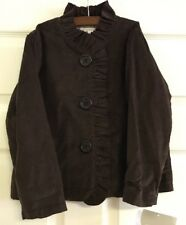 NEW Castles & Crowns Brown Ruffle Cord Boutique Coat Jacket 7/8 SO CUTE