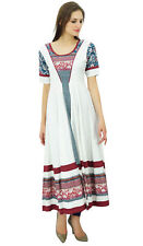 Bimba Women Long A-line White Anarkali Kurti Ladies Summer Kurta Costom Maxi