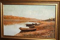 River landscape boats oil painting signed