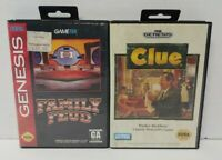 Clue + Family Feud - Sega Genesis Games - Working Tested - 2 Game Lot  !