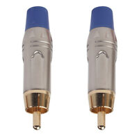 Set of 2 RCA Gold Plated Male Plug Connector Audio Stereo Adapter Blue