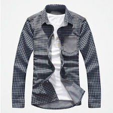 6165 New Mens Fashion Luxury Checks Casual Stylish Dress Shirts Gray US Small