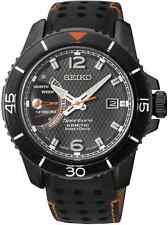 Seiko Srg021p1 Mens Black Dial Analog Quartz Watch With Leather Strap