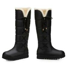 Hot Womens Winter Snow Wedge Heel Round Toe Boots Knee High Fleece Lined Shoes D