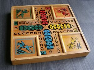 Ancien jeu de société bois, petits chevaux, nain jaune, dames, oie, dés, vintage