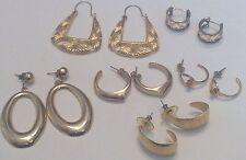 PIERCED EARRINGS 6 PAIR VINTAGE HOOP GOLD 1980s