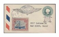 1888 Gwalior India Postal Stationery on 1930 US First Flight Cover US Sc c11