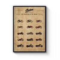 Vintage Indian Motorcycle Man Cave Biker Decor Poster Art Print A4 - B1 Framed