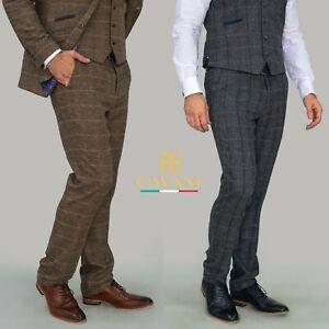 "Mens Cavani Tweed Check Albert Casual Formal Fitted Trousers RRP £49.99 40""- 46"""