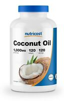 Nutricost Coconut Oil Capsules (1000mg) 120 Softgels - Gluten Free and Non-GMO