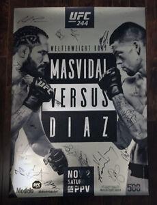 UFC 244 Autographed Event Poster, Masvidal, Nate Diaz, Baddest Mother F'er, SBC