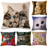 Cute Cat Linen Pillowcase Bedding Throw Cushion Cover Home Decor Pillow Cases