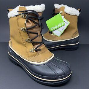 Crocs Allcast 2.0 II Wheat/Black Snow Boots Winter Faux Fur Shearling Mens 10 US