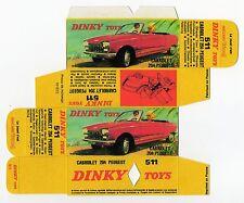 Boîte copie repro Dinky Toys 511 peugeot 204 cabriolet  ( reproduction box