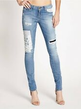 Guess Women's Mid Rise Patched And Mended Skinny Jeans Size 23