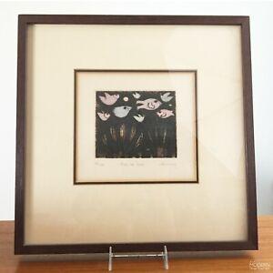 Carol Jablonsky Fish or Fowl Framed Signed Numbered Framed Color Etching 1970s