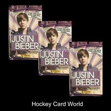 (HCW) 2010 Panini Justin Bieber Collectors Card Pack x3 Lot - 5 Card +1 Sticker