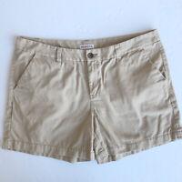 "Merona Women's Chino Shorts Tan Khaki Lightweight Cotton Inseam 4"" Size 14"