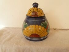 Liverpool Art pottery jar with lid ENGLAND hand painted sunflowers yellow blue
