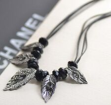 Vintage Retro Carved Leaf Shape Beaded Crystal Leather Strap Necklace Gift AA