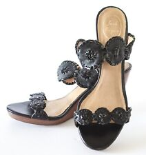 Jack Rogers Women's LUCCIA WEDGE Black Leather Dress Sandals Size 11M
