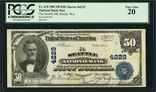 Rare! Seattle, WA $50 Fifty Dollars 1902 Plain Back Fr. 678 CH# 4229 red