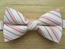 Pajarita rosa hecha a mano | color rosa y metálico Plata Corbata De Moño | Brillante Brillante Corbata De Moño