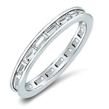 .48 CW CZ Channel Set Baguette Stackable Eternity Wedding Ring Band Size 8