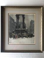 "Luigi Kasimir Original Color Etching Print ""Vienna, Hoher Markt"", Signed, Framed"