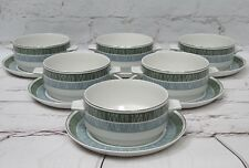 6 Vintage Midwinter Whitehill Marquis of Queensberry Lugged Soup Bowls & Saucers