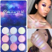 9 Colors Face Glow Concealer Highlight Glitter Eyeshadow Palette Makeup Y5V8