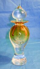 "Art Glass Yellow Perfume Bottle Modernist Hand Blown Large 7"" Artist Signed"