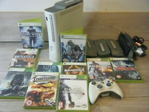 XBOX 360 ARCADE BUNDLE CONSOLE 1 CONTROLLER SPARE HARD DRIVES LEADS+10 GAMES