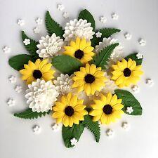 Sunflowers & Dahlia Bouquet Edible Sugar Flowers Cake Decorations Cupcake Topper