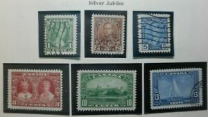 Canada stamps Scott#211,- #216, King George V, Silver Jubilee issues of 1935