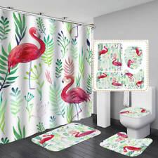 Leaves Flamingo Art Shower Curtain Bath Mat Toilet Cover Rug Bathroom Decor