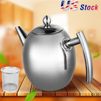 1L Stainless Steel Teapot Coffee Pot Over Kettle Drip Water Kettle W/Filter  US