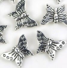 16x12mm Antuque Silver Pewter Butterfly Bead (10)