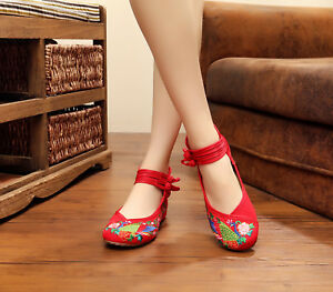 Vintage Style Lao Beijing Chic Red Peacock Embroidery Flats Ladies Shoes EU 39