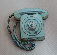Retro Blue Telephone Brooch or Scarf Pin Accessories Jewelry Wood Fashion NEW