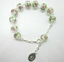 Rosary Bracelet Crystal Beads White Pink Roses Miraculous Medal Italy