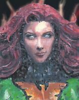 "11x14"" PRINT Jean Grey Dark Phoenix Portrait Bust Painting Comic Book Wall Art"