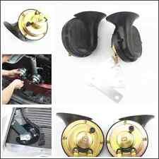 2 x Car SUV Pickup 12V Electric Compact Horn Black 110dB Loud Dual-tone Snail