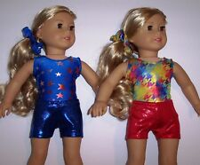 """Two 3 Piece Sets Gymnastics Dance Leotard Clothing to fit 18"""" American Girl Doll"""