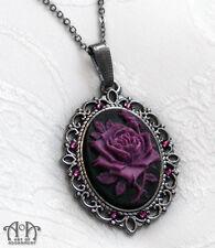Gothic Black PURPLE ROSE CAMEO NECKLACE Victorian Style Pendant Gunmetal D75