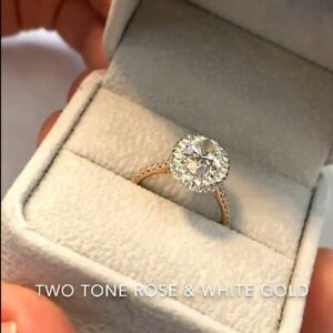 1.98 TCW Oval Cut DVVS1 Moissanite Engagement Ring in Solid 14K Multi-Tone Gold