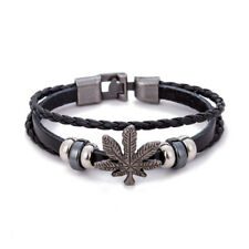 Fashion Leather Bracelet For Men Women Vintage Leaf Weed Charm Bracelet BangleBH